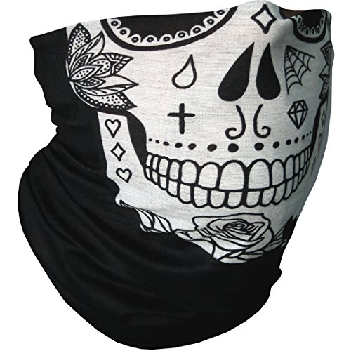 CampTeck Breathable Multi-Purpose Seamless Bandana Tube Face Mask Balaclava Headband for Motorcycling, Hiking, Riding, Cycling and Other Outdoor Use - Candy Skull