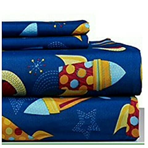 Dor Extreme Super Soft Luxury Twin Rocket Ship Bed Sheet Set in 8 Different Prints, Navy, 3 Piece (Rocket Twin Bedding)