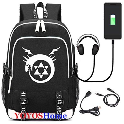 YOYOSHome Luminous Japanese Anime Cosplay Daypack Bookbag Laptop Bag Backpack School Bag with USB Charging Port (Fullmetal Alchemist 2)