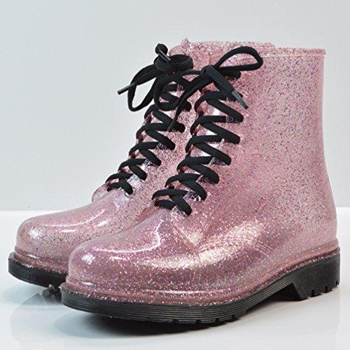 LvRao Mujeres Boots Tacones Altos Impermeable de Nieve Lluvia Zapatos Botas Cortas de Jardín de las Señoras Rosado