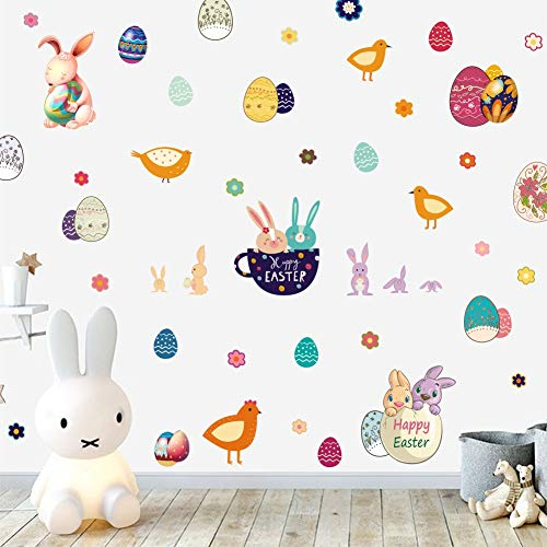 Happy Easter Peel - TOARTi Easter Bunnies Wall Decals Easter Eggs Removable Peel and Stick Wall Stickers Bunny Egg Happy Easter Decor, 88 Count