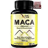 Organic Pure Maca Root Powder Black, Yellow, Red Vegan Capsules - 1000mg