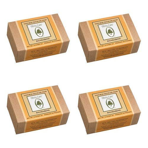 Olivia Care Olive Oil Soap , Mandarine, 8-Ounce Boxes (Pack of 4)
