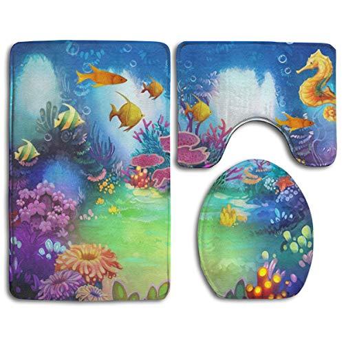 Hucuery Customized Cartoon Underwater Garden Seahorse and Fish Fashion Bathroom Carpet Cushion Set 3 Anti-Skid Cushion Bath Cushion + Contour + Toilet Cover from Hucuery