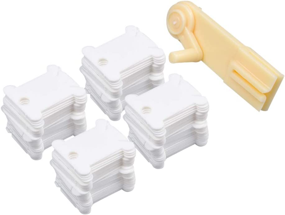 Spulen mit Organizer Aufbewahrungsbox und 552 St/ück Floss Zahlen Aufkleber Stickgarn Caydo 124-teiliges Set aus wei/ßer Kunststoffflocken