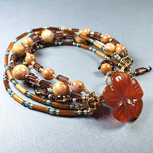 Multi Strand Bead Bracelet with Gold Toggle and Carnelian Gemstone Button