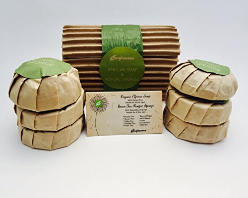 African Soap Individually Packed 4 Pieces and Natural Gre...