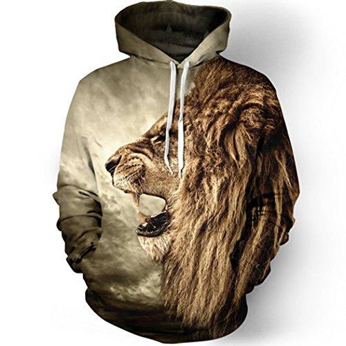 Sun Lorence Men Casual Lion Pattern Printed Sweatshirts Fashion Hoodies XL