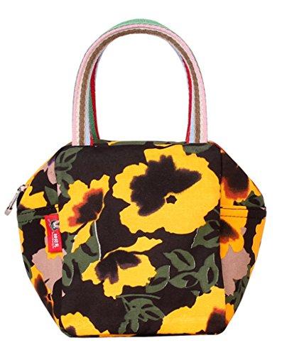 Fortuning's JDS® Moda impresa estilo de la mano de la lona del bolso del monedero de las mujeres flores amarillas