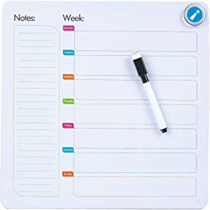 AFAN Single-Sided Magnetic Whiteboard, Magnetic Dry Erase Board, Weekly Work and Study Schedule Children's Practice Writing Board, Teaching, Office, Home, Mobile Portable Magnetic Message Board…