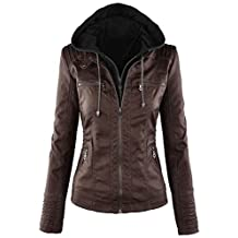 FANTIGO Womens Faux Leather Motorcycle Jacket With Hoodie