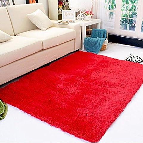 DODOING Super Soft Modern Shag Area Rugs Living Room Carpet Bedroom Rug for Children Play Solid Home Decorator Floor Rug and Carpets (120cmx160cm(47.2x62.9 inch), - Red Shag Carpet