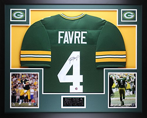 Brett Favre Autographed Green Packers Jersey - Beautifully Matted and Framed - Hand Signed By Brett Favre and Certified Authentic by Auto Favre COA - Includes Certificate of (Brett Favre Framed)