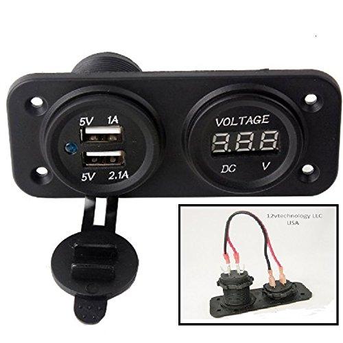 Volt Meters Panel Mount : Dual usb charger red voltmeter jumper volt meter panel