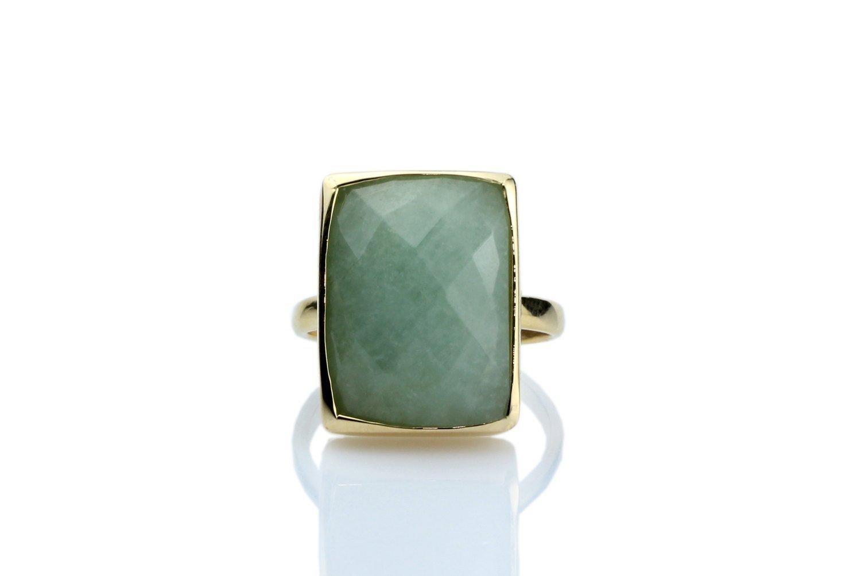 Aquamarine ring, rectangle ring, statement ring, gold bezel ring, gemstone ring, stackable ring, gold stacking ring