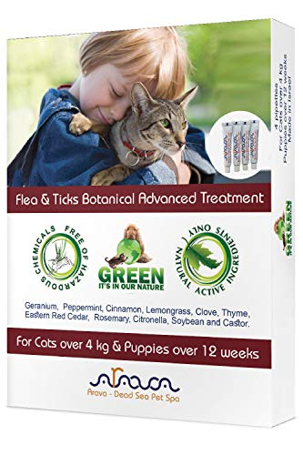 Arava Flea & Tick Prevention for Cats - 4-Doses – Puppy & Cat Flea Treatment - Botanical Flea & Tick Control Drops Repel Pests with Natural Oils – 100% Safe for Pets - Enhanced Defense & Prevention