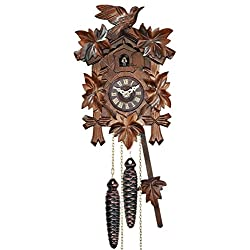 Cuckoo Clock - Quartz Traditional with Leaves & Bird - Engstler