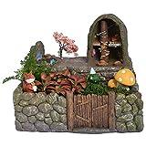 NCYP Miniature Fairy Garden Planter Flower Pot Sculpture Status Cherry Pond Stone House Micro Landscape Resin Garden Flowerpot No Plants