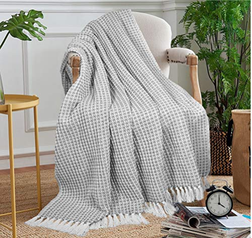 Bedroom GLAMBURG 100% Cotton Throw Blanket for Couch Sofa Bed Beach Outdoor 50×60, Cotton Throws Blanket for Adults and Kids… farmhouse blankets and throws