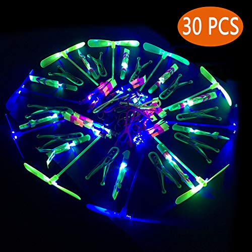 Amazing Arrow Rocket Copters Led Light Helicopter Flying Toy, Mini Flying Dragonflies,propeller toy,Party Fun Gift Elastic- For Kids Boys And Girls Great Party Favors,Fun, Toy, Gift, Prize(30 PCS)