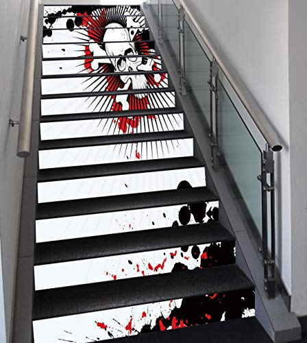 Stair Stickers Wall Stickers,13 PCS Self-adhesive,Halloween,Skull with Crossed Bones over Grunge Background Evil Scary Horror Graphic,Pearl Red Black,Stair Riser Decal for Living Room, Hall, Kids -