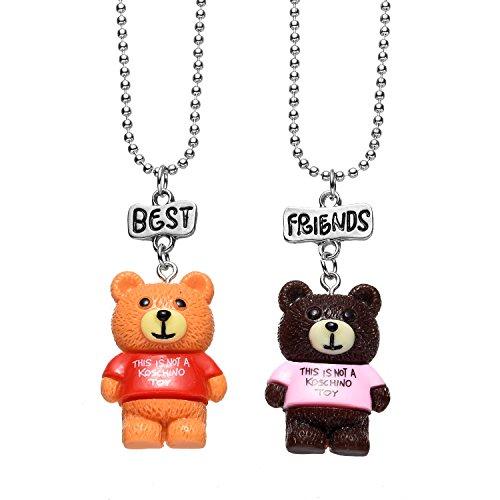 Pibupibu 2 Packs Best Friends Kids Children Resin Pendant Necklace (Costumes For Two Best Friends)