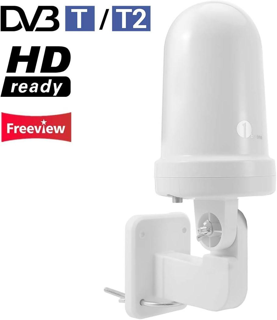 1byone Antena de TV Interior/Exterior, Omnidireccional Antena de TV Digital para Receptor HDTV/DVB-T, VHF/UHF/FM, TDT Digital y señales de TV analógicas, tecnología SMD, Resistente al Agua