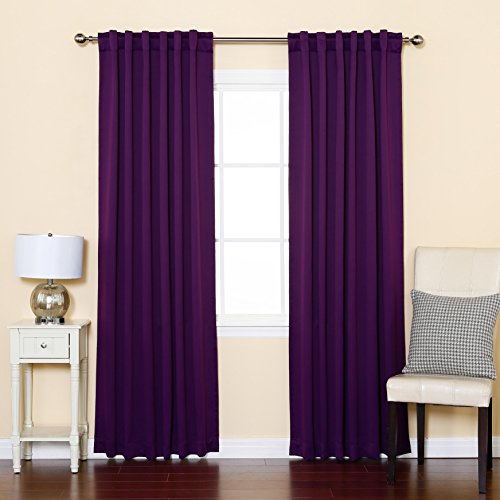 Best Home Fashion Basic Thermal Insulated Blackout Curtains - Back Tab/ Rod Pocket - Purple - 52