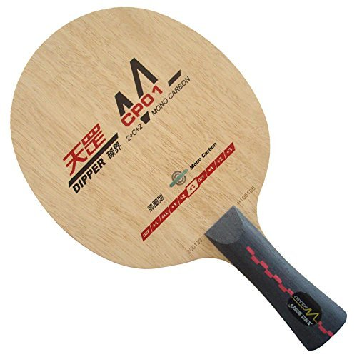 DHS Dipper CP01 (CP 01, CP-01, DM.CP01) Mono-Carbon (Loop Type) OFF++ Table Tennis Blade for Ping Pong Racket, Long(shakehand)-FL by DHS