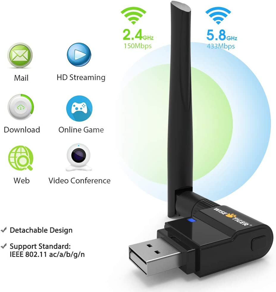 AC1300 WiFi Adapter 2.4//5GHz Dual Band Wireless Adapter USB 3.0 WiFi Card for Laptop Desktop PC Support Win 7//8.1//10//XP//Vista Mac OS X10.6-10.15 USB Flash Driver Include
