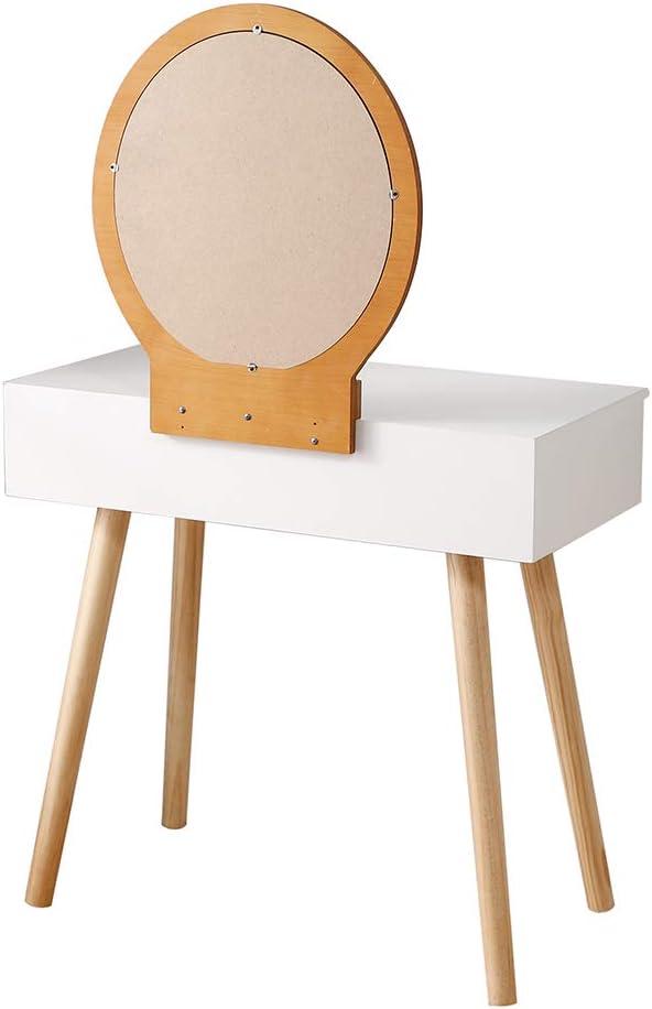 Corridoio Bianco- Legna, 80/×40/×128cm Sgabello per Trucco a 2 Cassetti per Camera da Letto Biblioteca con Specchio Rimovibile YIFAA Tavolo da Toletta