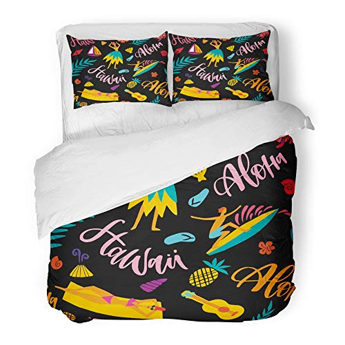 Emvency Bedding Duvet Cover Set Twin (1 Duvet Cover + 1 Pillowcase) Hawaii with Tourist Attractions Symbols and Colorful with Hula Dancer Woman On The Hotel Quality Wrinkle and Stain Resistant by Emvency