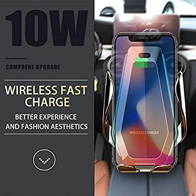 EZNILE Wireless Car Charger Mount Auto-Clamp Free Rotation Windshield Dash Air Vent Phone Holder 10W Qi Fast Charging Compatible with iPhone11/Xs MAX/XS/XR/X/8Plus/8,Samsung S6/S7/S8/S9 Edge+ (silver): Home Audio & Theater