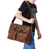 Retro Leather Unisex Real Leather Messenger Bag for Laptop Briefcase Satchel Bag