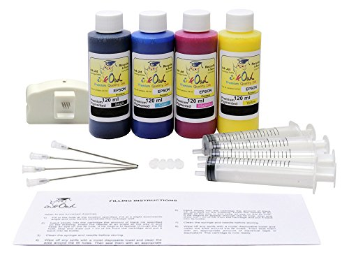 InkOwl - Refill Kit for use with EPSON ColorWorks C3500 label printers - 4x120ml Premium Pigmented USA ink plus the chip (C3500 Starter)
