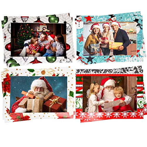 48 Christmas Photo Frame Greetings Cards - Photo Sleeve Christmas Cards Fits 4x6 Photo Insert - Holiday Picture Holder Greeting Note Cards - 4 designs 12 of each (Holder Photos)