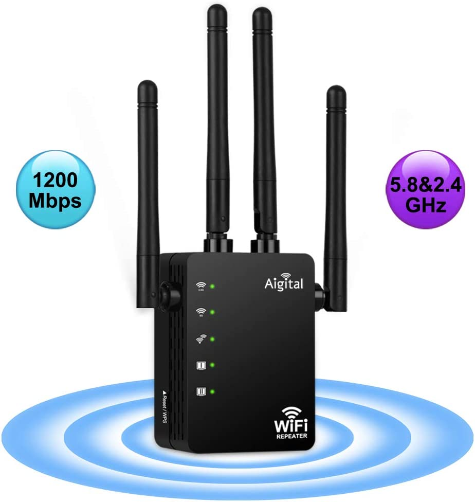 WiFi Extender, Aigital Wireless Internet Booster Dual Band (5G+2.4G) Wi-Fi Repeater