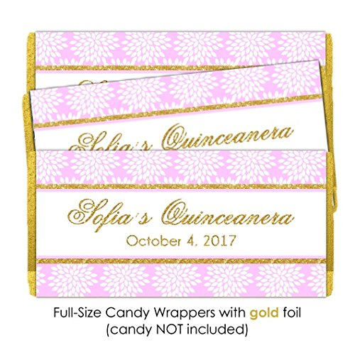 50 Custom Quinceanera Candy Wrappers, Pink Floral Candy Wrappers, Sweet 16 Chocolate Bar (Custom Chocolate Bar Wrappers)