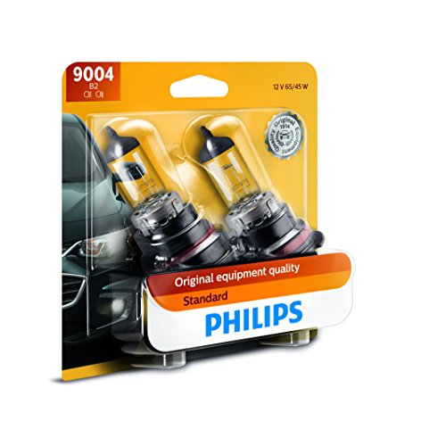 (Philips 9004 Standard Halogen Replacement Headlight Bulb, 2 Pack)