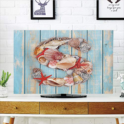 iPrint LCD TV dust Cover Strong Durability,Letter S,Various Seashells Scallops Starfishes on Wooden Planks Nautical Decorative,Pale Blue Ivory Dark Coral,Picture Print Design Compatible 42