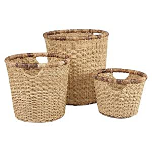 Metro Round Seagrass with Abaca Rim Storage Basket. A Set of 3 Natural Hand Woven High Quality Sturdy Baskets with Handles for Easy Transport. Ideal for Home & Office Use.