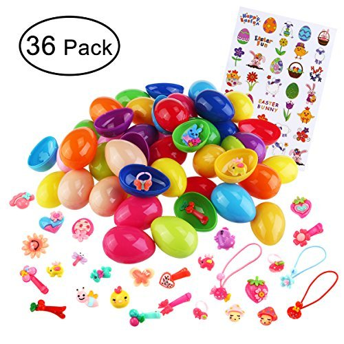 Toy Filled Easter Eggs Easter Party Favors, Included 36pcs Eggs, 36pcs Toys (Hair  Ties, Hair Clips ect ), Easter Sticker Easter Eggs Tie
