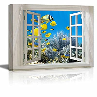 Classic Design, Alluring Expertise, Glimpse into Deep Sea View and Tropical Fish Out of Open Window Wall Decor