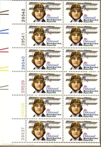1980 BLANCHE STUART SCOTT #C99 Airmail Plate Block of 12 x 28 cents US Postage Stamps
