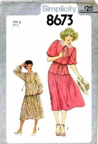 Simplicity 8673 Vintage Sewing Pattern Pullover Dress Size 8 Bust 31 1/2