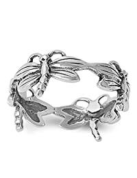 Sterling Silver Dragonfly Unique Women's Ring Promise 925 Band 9mm Sizes 5-10
