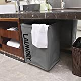 WOWLIVE Collapsible Rolling Laundry Basket Foldable Rectangular Tall Laundry Hamper with Wheels Corner Standing Dirty Clothes Organizer Storage Bin