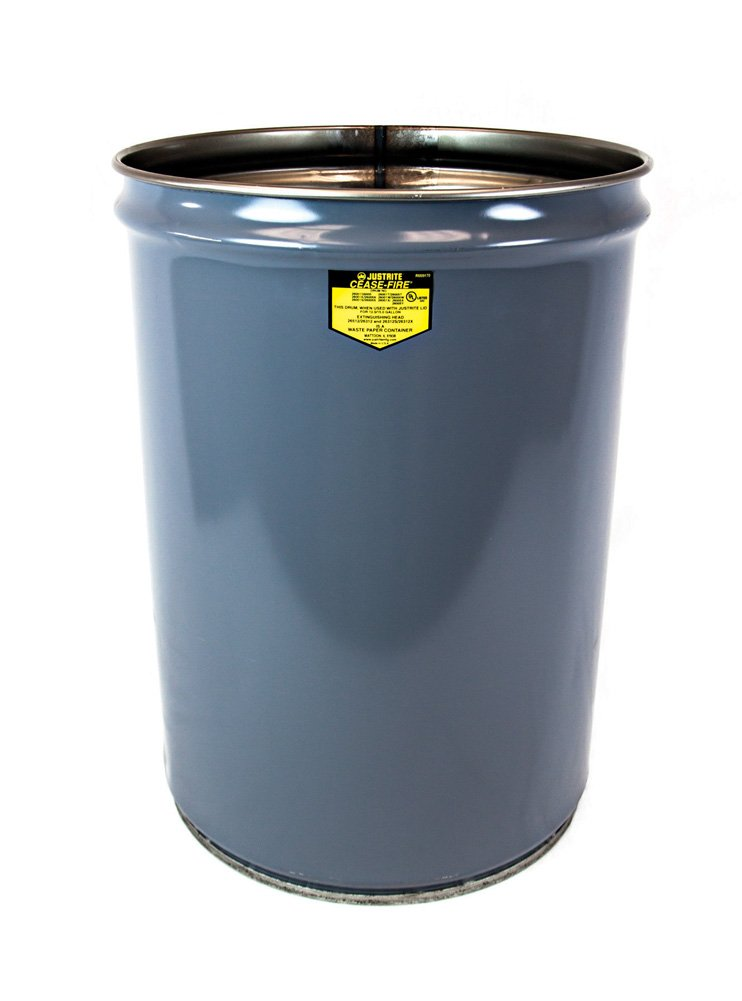 Justrite 26001 Cease-Fire Steel Drum, 12 Gallon Capacity, 14-1/2'' OD x 20-1/4'' Height, Gray