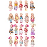 Huang Cheng Toys Pack of 10 Color-hair 4'' Mini Doll with Colorful Clothes Costume