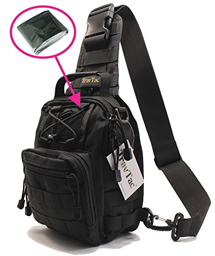 TravTac Stage I Small Premium Everyday Carry Tactical Sling Bag 900D (Black 2.0) - Includes Emergency Blanket ()